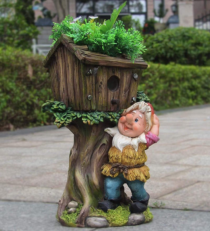 Buy Gnome Bird House Planter With Artificial Flower Inside By Wonderland Online Desk Pots Pots Planters Home Decor Pepperfry Product