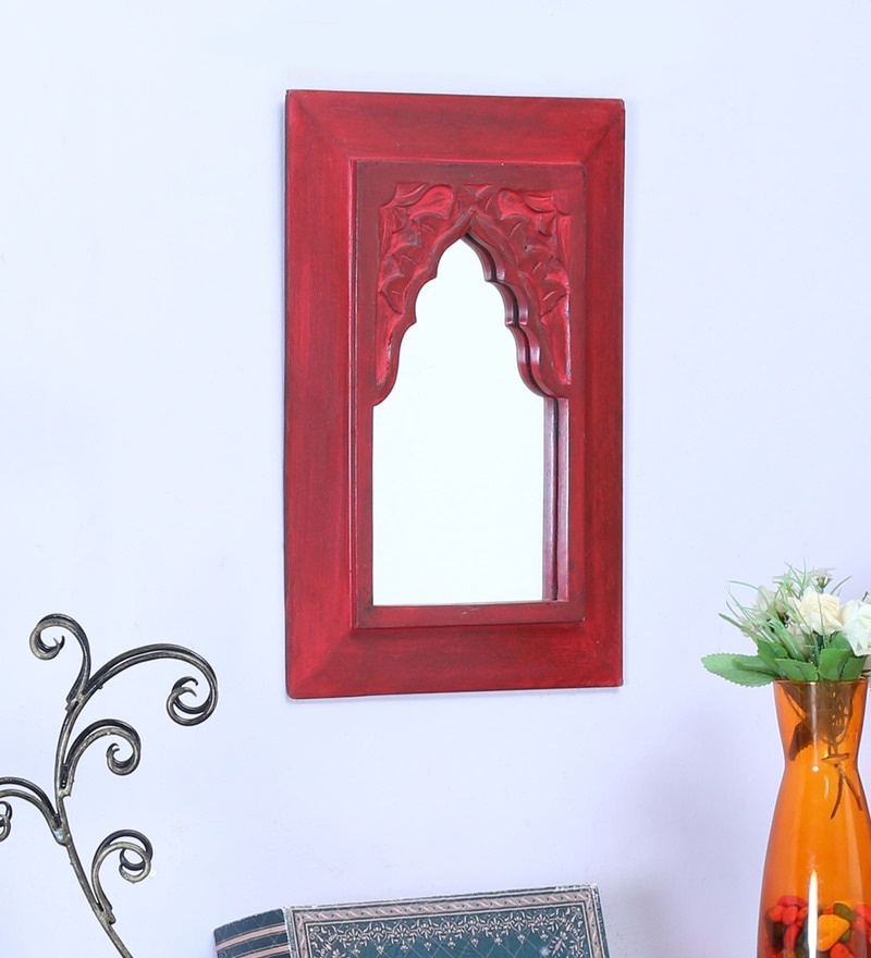 Wood 10 x 1 x 14 Inch Red Minaret Small with Carving Mirror by Artisans Rose