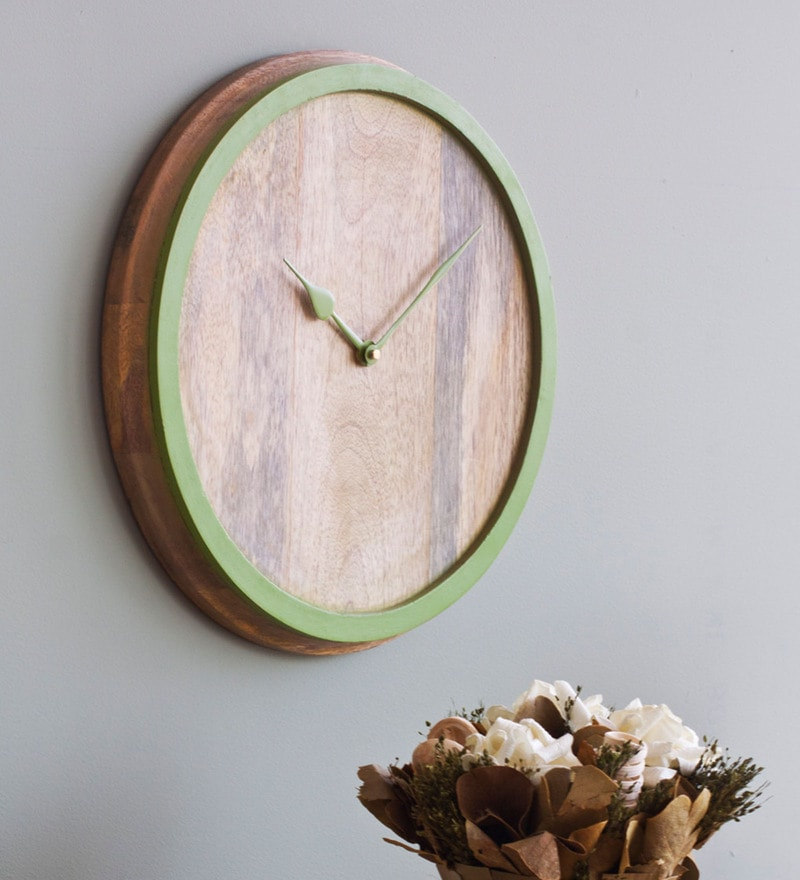 Wood 12 x 0.5 x 12 Inch Edggy Wall Clock by Orange Tree