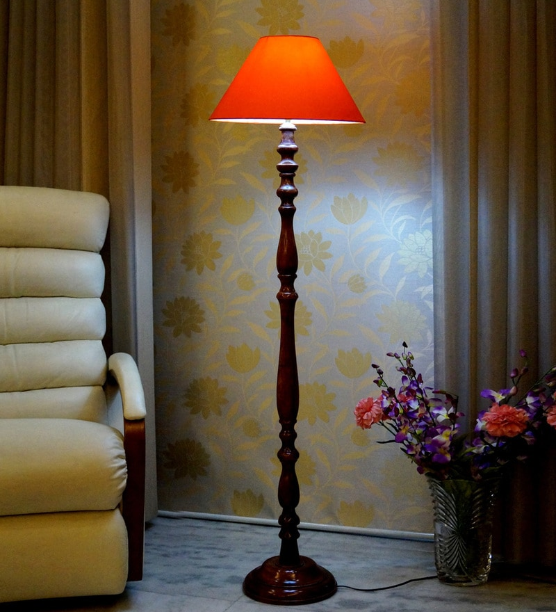 Orange Poly Cotton Floor Lamp by Woody Lamp House