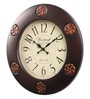 Wood Craft Brown Glass & MDF 15.9 Inch Round Wall Clock