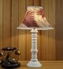 Maroon & Khadi Poly Silk Table Lamp by Woody Lamp House