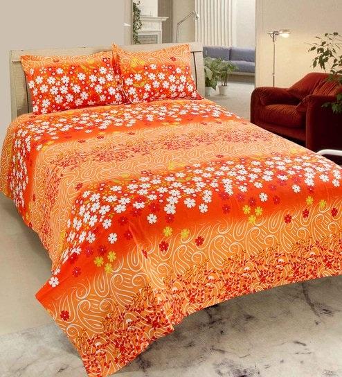 Buy Orange Cotton Luxury Indigenous Print Double Bedsheet Set - Orange print sheets