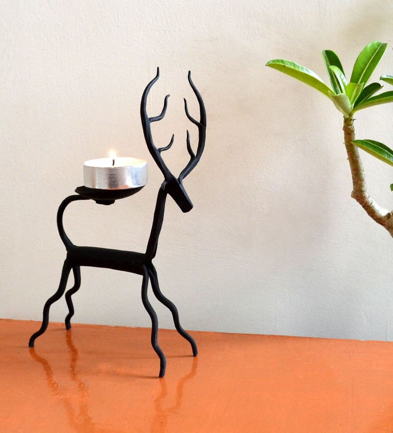 1d1e8b45f04 Buy Wrought Iron 5.5 x 2 x 7 Inch Deer Candle Stand by Chinhhari ...
