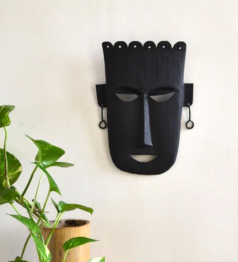 Wrought Iron 8 x 1 x 11.5 Inch Tribal Mask by Chinhhari Arts