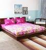 Wraps N Drapz Pink Nature & Florals Cotton Queen Size Bed Sheets - Set of 3