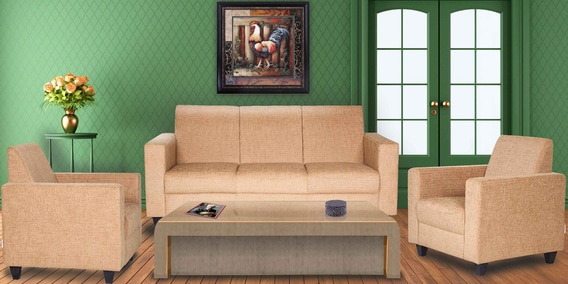 Buy Xavier Sofa Set 3 1 1 In Mustard Colour By Hometown Online