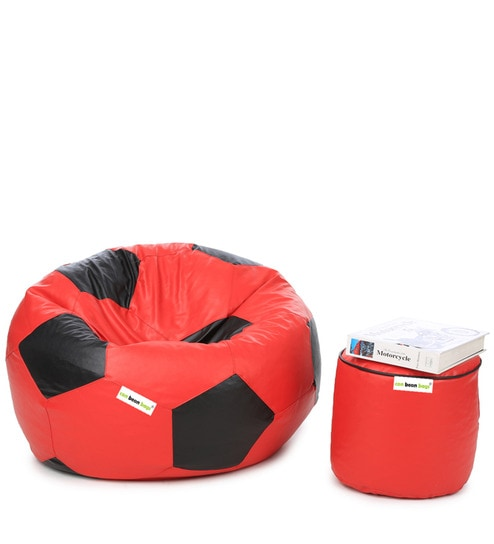 Football Bean Bag With Beans Pouffe In Black Red Colour