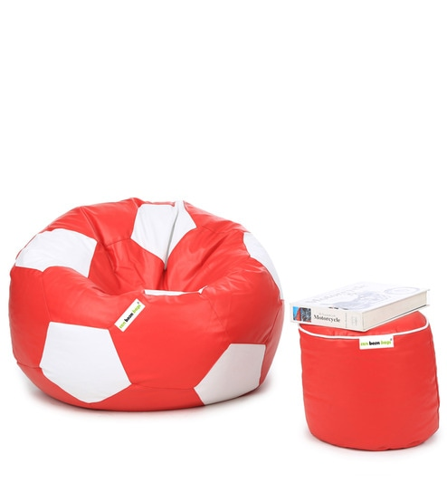 buy football bean bag with beans pouffe in white red colour by