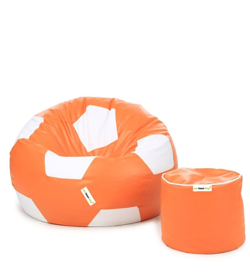 Football Bean Bag Without Beans Cover Pouffe In Orange White Colour