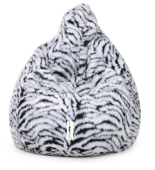 Fur Bean Bag With Beans In Black White Colour By Can