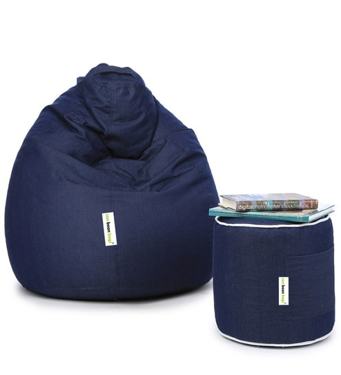 Cool Combo Denim Xxl Bean Bag With Beans Filled Pouffe In Blue Colour By Can Machost Co Dining Chair Design Ideas Machostcouk