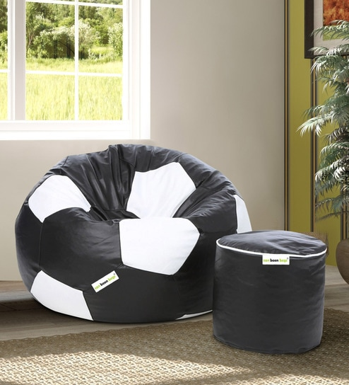 XXL Football Leatherette Bean Bag Cover + Pouffe Cover in Black & White  Colour by Can