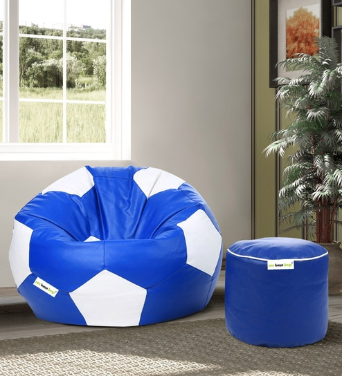 Pleasant Combo Football Xxl Bean Bag With Beans Filled Pouffee In Blue White Colour By Can Alphanode Cool Chair Designs And Ideas Alphanodeonline