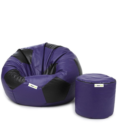 Astonishing Combo Football Xxl Bean Bag With Beans Filled Pouffee In Purple Black Colour By Can Machost Co Dining Chair Design Ideas Machostcouk