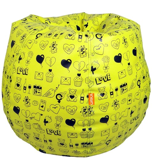 Surprising Xxl Printed Bean Bag With Beans In Yellow Colour By Orka Machost Co Dining Chair Design Ideas Machostcouk
