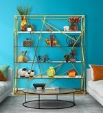 Yangon Metallic Bookshelf in Brass Finish with Glass Shelves