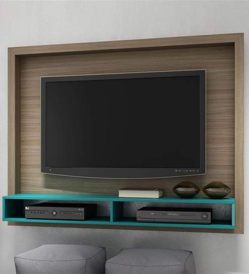 Buy Yasuo Wall Mounted TV Unit in Oak & Aquamarine Blue Finish by ...