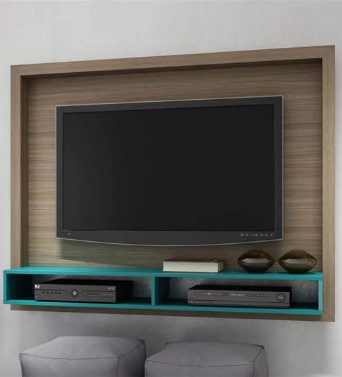 Buy Yasuo Wall Mounted Tv Unit In Oak Aquamarine Blue Finish By