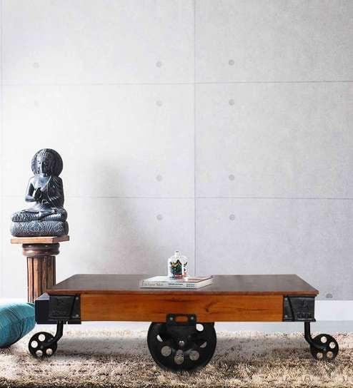 Yatela Solid Wood Coffee Table In Honey Oak Finish By Bohemiana