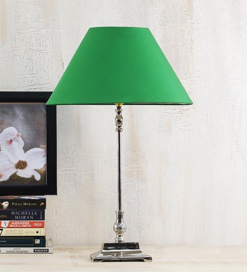 Green Poly Cotton Lamp Shade by Yashasvi