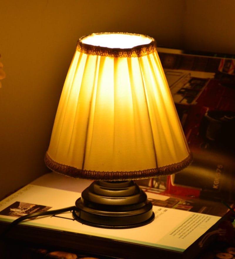 Cream Table lamp by Yashasvi