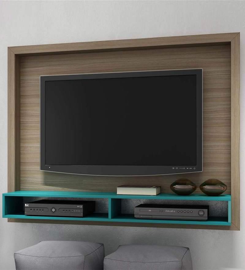 Buy Yasuo Wall Mounted Tv Unit In Oak Amp Aquamarine Blue