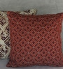 Yamini Maroon Cotton 16 x 16 Inch Tile Embroidered Cushion Cover