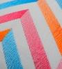 Yamini Multicolour Cotton 16 x 16 Inch Chevron Embroidered Cushion Cover
