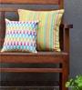 Yamini Multicolour Cotton Candy Stripe & Geometric Embroidered Cushion Cover - Set of 2
