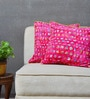 Yamini Pink & Blue Cotton 16 x 16 Inch Cushion Cover - Set of 2