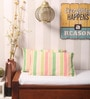 Yamini Pink & Green Cotton 20 x 12 Inch Striped with Knife Edge Cushion Cover