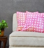 Yamini Pink & White Cotton 16 x 16 Inch Cushion Cover - Set of 2