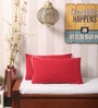 Yamini Red Cotton 20 x 12 Inch Solid with Contrast Cord Piping Cushion Cover