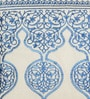 Yamini White & Blue Cotton 16 x 16 Inch Dome Embroidered Cushion Cover