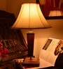 Khadi Cream Wooden Table Lamp by Yashasvi