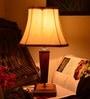 Qualdi Cream Wooden Table Lamp by Yashasvi