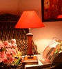 Red Wooden Table Lamp by Yashasvi