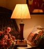 Cream Wooden Table Lamp by Yashasvi