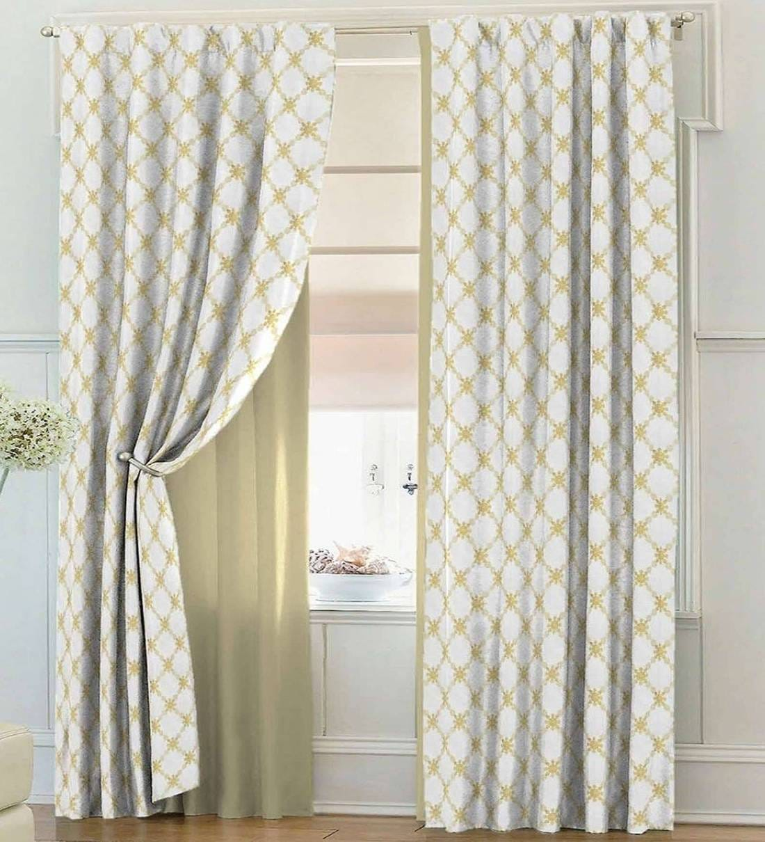Buy Yellow Sheer Tissue 7 Feet Rod Pocket Door Curtain By Solaj Online Floral Door Curtains Furnishings Home Decor Pepperfry Product