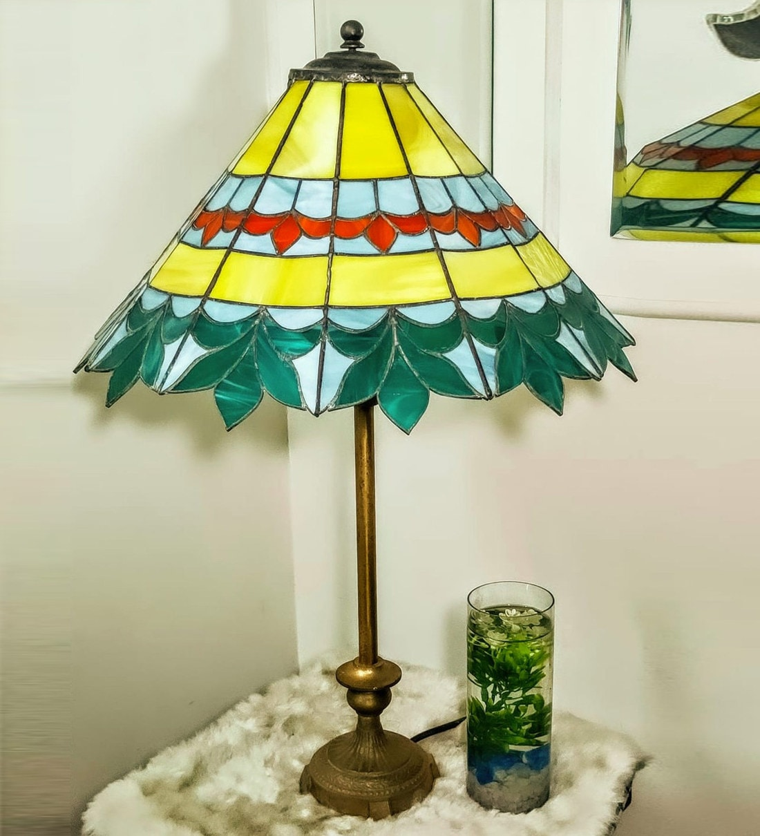 Buy Yellow Stained Glass Shade Tiffany Table Lamp With Antique Gold Base By Stg House Online Mid Century Table Lamps Table Lamps Lamps Lighting Pepperfry Product