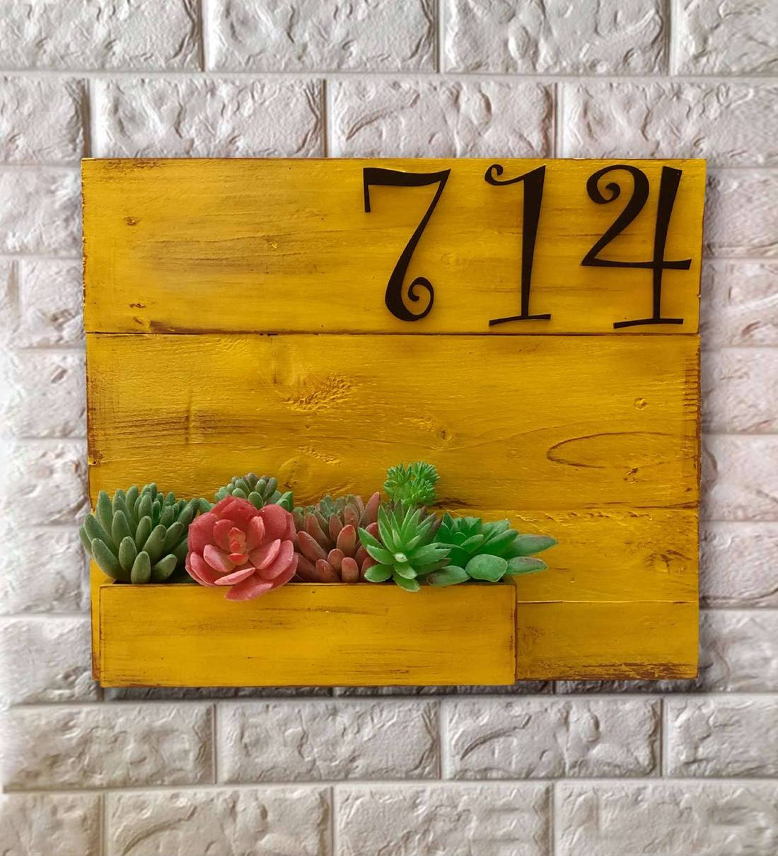 Buy Yellow Wood Name Plate Number Plate Rustic Yellow With Planter By Lakkad Studios Online Name Plates Name Plates Home Decor Pepperfry Product