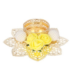 Yellow & White Floral Metal Tea Light Candle Holder
