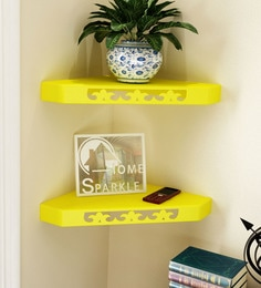 Yellow Engineered Wood Corner Wall Shelves - Set Of 2 By Home Sparkle