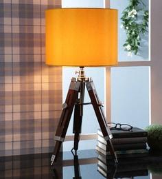 Yellow Fabric Table Tripod Lamp