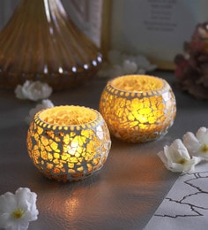 Yellow Glass Chip Doom Tea Light Holders  - Set Of 2