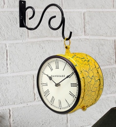 Yellow MDF & Metal Handcrafted Crackle Double Side Platform Clock
