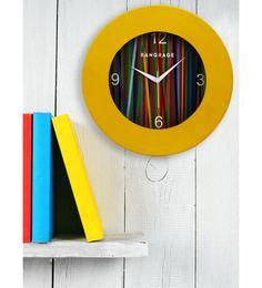 Yellow MDF 12 X 12 Inch Rainbow Wall Clock