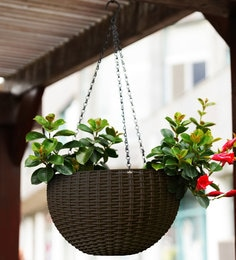 Brown Plastic Round Rattan Waven Flower Hanging Planter