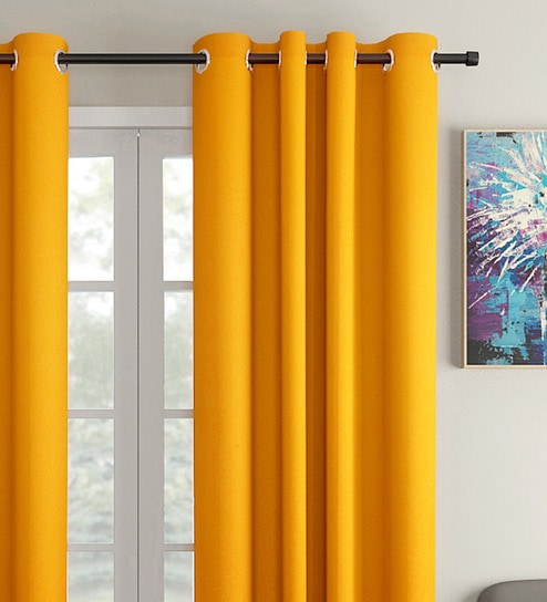 Yellow 100 Premium Cotton Solid Design Window Curtain By Skyloom